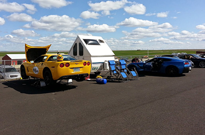 Corvette at Race Track with QuickJack Car Lift