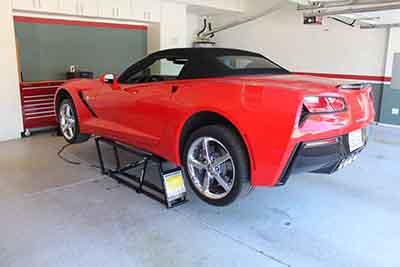 QuickJack Portable Car Lift Red Corvette