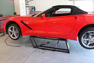 QuickJack Car Lift Red Corvette